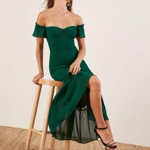 Reformation- Butterfly Dress in Emerald Size 4